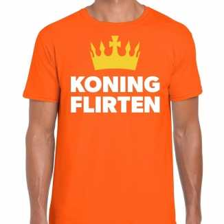Oranje koning flirten t shirt heren