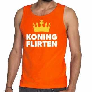 Oranje koning flirten tanktop / mouwloos shirt heren
