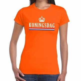Oranje koningsdag vlag kroontje t shirt dames