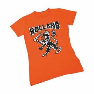 Oranje t shirt hollandse leeuw dames