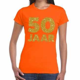 Oranje vijftig jaar verjaardag shirt dames gouden bedrukking