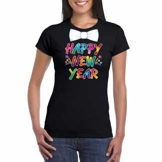 Oud nieuw t shirt happy new year vlinderdas zwart dames
