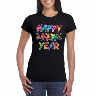 Oud nieuw t shirt happy new year zwart dames