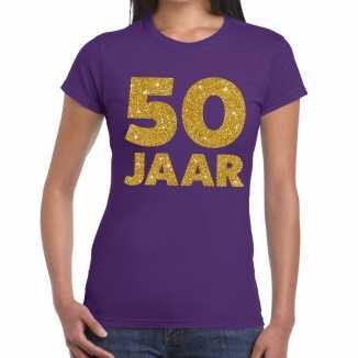 Paars vijftig jaar verjaardag shirt dames gouden bedrukking