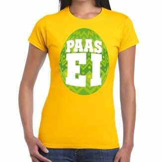 Paasei t shirt geel groen ei dames