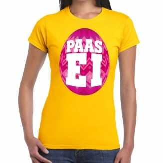 Paasei t shirt geel roze ei dames