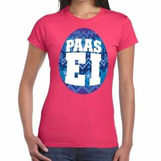 Paasei t shirt roze blauw ei dames