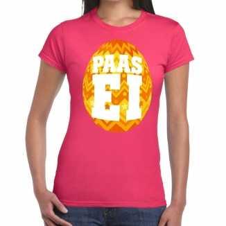 Paasei t shirt roze oranje ei dames