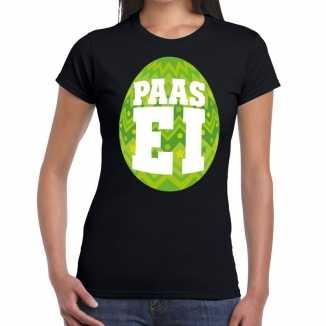 Paasei t shirt zwart groen ei dames