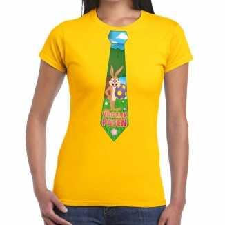 Paashaas stropdas vrolijk pasen t shirt geel dames