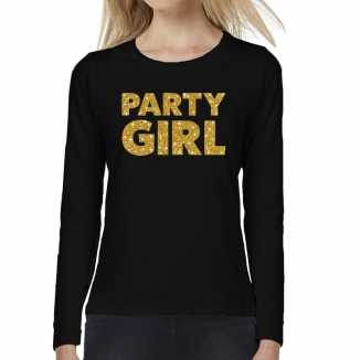 Party girl goud glitter t shirt long sleeve zwart dames