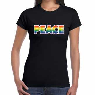 Peace gay pride t shirt zwart dames