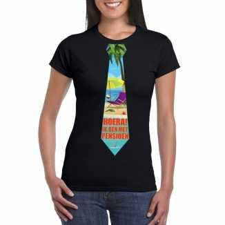 Pensioen t shirt zwart dames stropdas