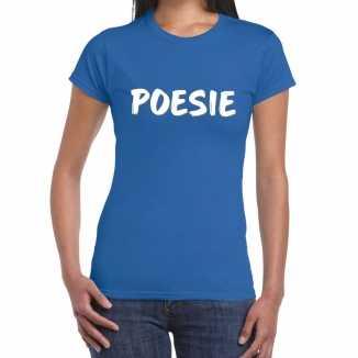 Poesie fun tekst t shirt blauw dames