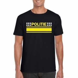 Politie logo t shirt zwart heren