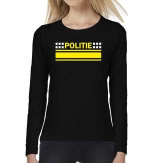 Politie logo verkleed t shirt long sleeve zwart dames