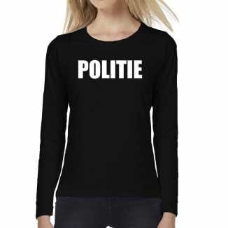 Politie tekst t shirt long sleeve zwart dames