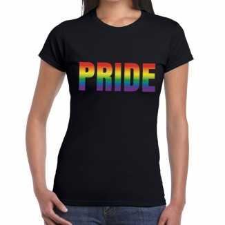 Pride gaypride shirt zwart dames