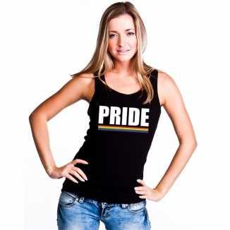 Pride mouwloos shirt zwart regenboog vlag dames