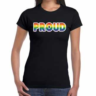Proud gay pride t shirt zwart dames