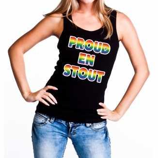 Proud stout gaypride tanktop/mouwloos shirt zwart dames