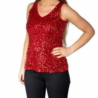 Rode glitter pailletten disco topje/ mouwloos shirt dames