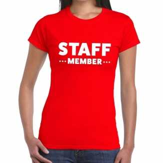 Rood crew shirt staff member bedrukking dames
