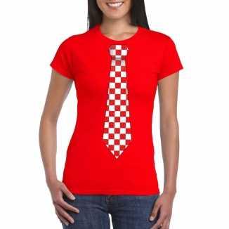 Rood t shirt geblokte brabant stropdas dames