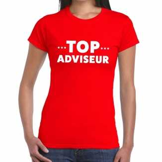 Rood tekst shirt top adviseur bedrukking dames