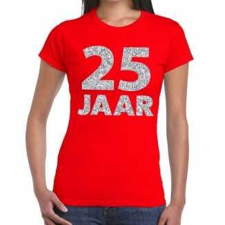 Rood vijfentwintig jaar verjaardag shirt dames zilveren bedrukking