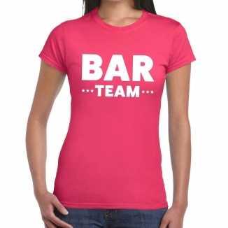 Roze bar team shirt dames