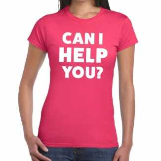 Roze tekst shirt can i help you bedrukking dames