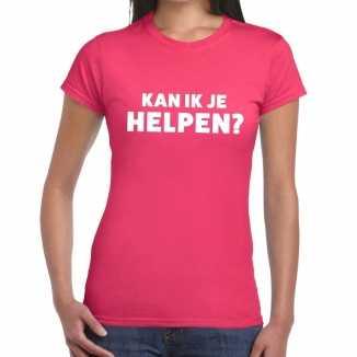 Roze tekst shirt kan ik je helpen bedrukking dames