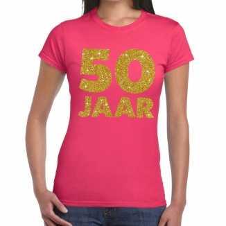 Roze vijftig jaar verjaardag shirt dames gouden bedrukking