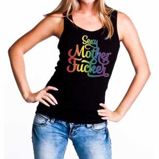 Sexy mother fucker gaypride tanktop/mouwloos shirt zwart dames
