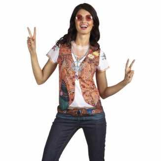 Sexy shirt hippie opdruk dames
