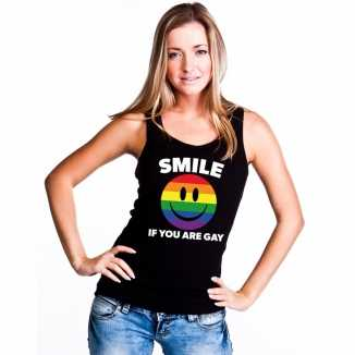 Smile if you are gay emoticon tanktop/ singlet shirt zwart dames