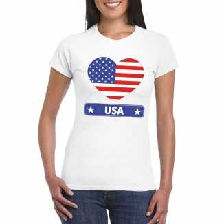T shirt wit amerika/ usa vlag in hart wit dames