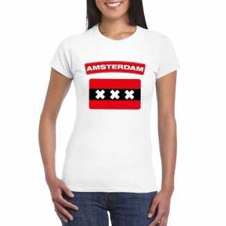 T shirt wit amsterdam vlag wit dames