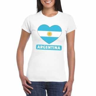 T shirt wit argentinie vlag in hart wit dames