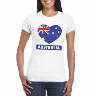 T shirt wit australie vlag in hart wit dames