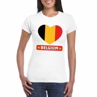T shirt wit belgie vlag in hart wit dames