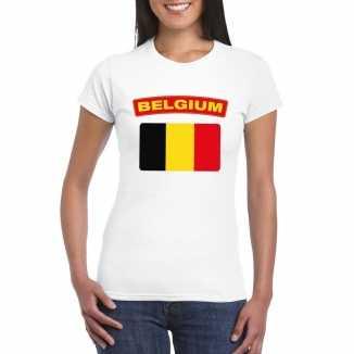 T shirt wit belgie vlag wit dames
