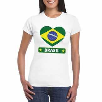 T shirt wit brazilie vlag in hart wit dames
