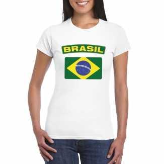 T shirt wit brazilie vlag wit dames
