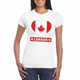 T shirt wit canada vlag in hart wit dames