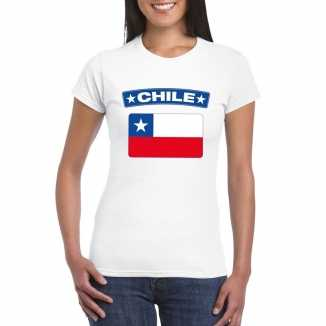T shirt wit chili vlag wit dames