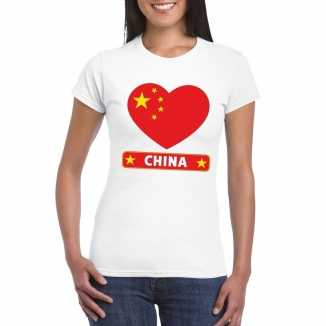 T shirt wit china vlag in hart wit dames