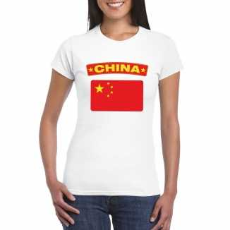 T shirt wit china vlag wit dames