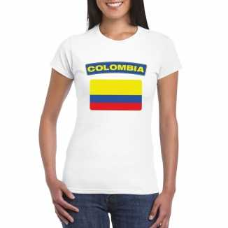T shirt wit colombia vlag wit dames